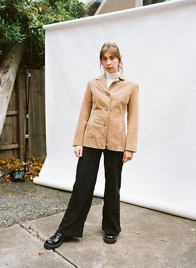 Vintage Via Reggio Genuine Leather Suede Tailored Jacket