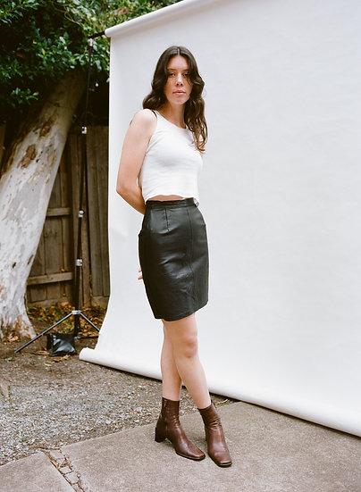 Vintage Australian Genuine Leather High Waist  Mini Skirt