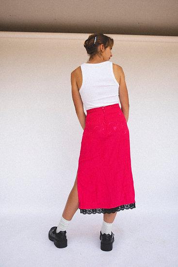 Vintage Hot Pink Floral Lace Maxi Skirt