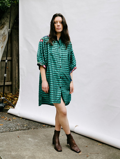 Vintage Full Moon 80's Retro Gingham Floral Button Smock Dress