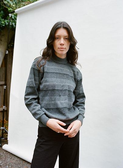 Vintage 100% Pure Wool Stripe High Neck Sweater