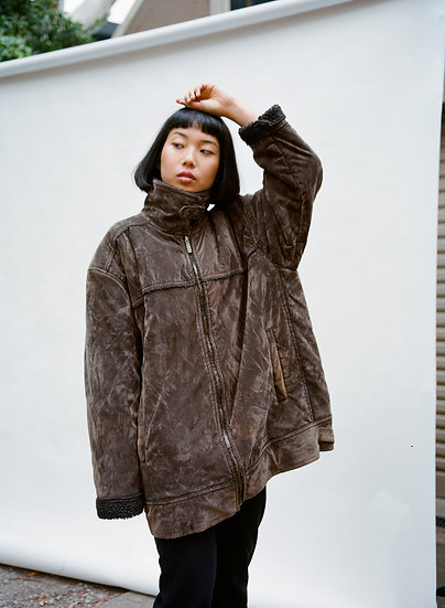 Vintage Rivergum Faux Suede Fleece Buckled Jacket