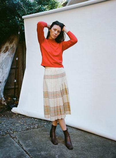 Vintage Awon Pure Wool Pleated High Waist Skirt
