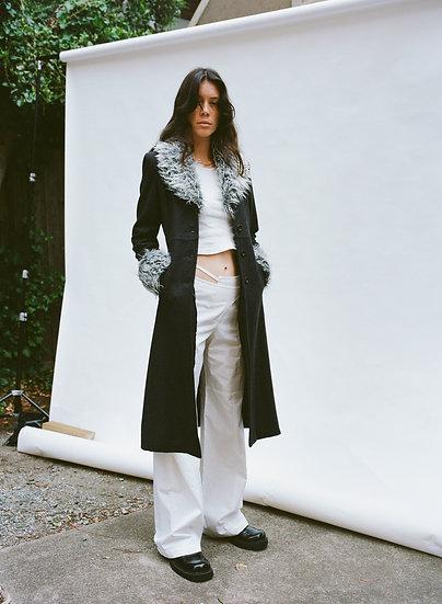 Vintage Filo Detachable Faux Fur Pure Wool Trench Coat