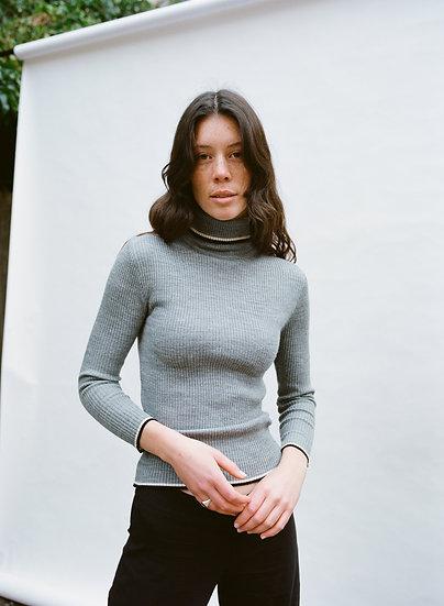 Vintage Raam Stripe Ribbed Knit Turtleneck Sweater