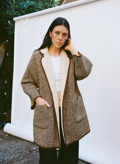 Vintage Reversible Pure Wool Woven Coat