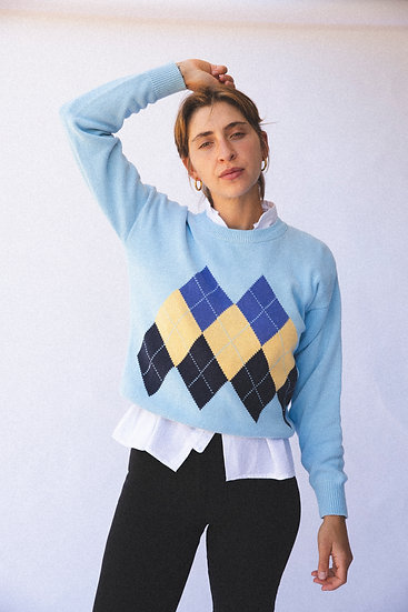 Vintage Cotton Knit Argyle Sweater