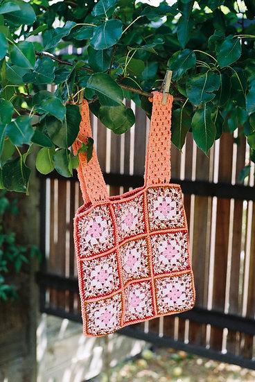 Vintage Hand Crochet Woollen Bag
