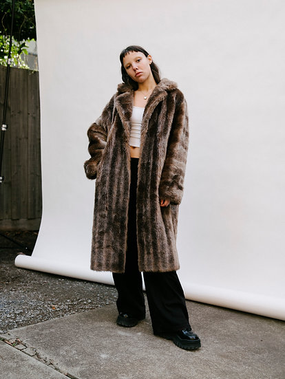 Vintage English 90's Faux Fur Full Length Trench Coat