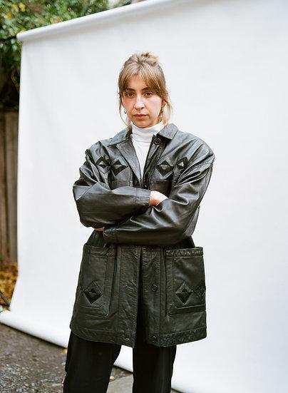 Vintage 80's Genuine Leather Black Patchwork Jacket