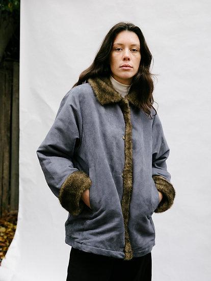 Vintage 90's Faux Fur and Faux Suede Fleece Jacket
