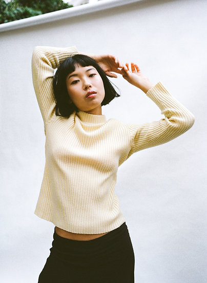 Vintage CKM Ribbed Knit High Neck Sweater