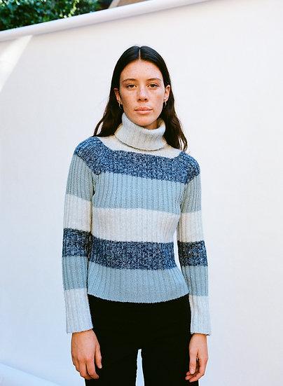 Vintage Stripe Ribbed Knit Turtleneck Sweater