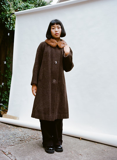 Vintage Virgo Model Melbourne Genuine Fox Fur, Mohair and Pure Wool Trench Coat
