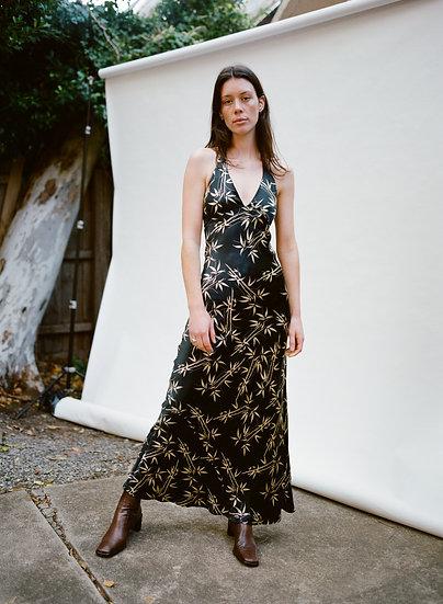 Vintage 90's Sulu 100% Pure Silk Full Length Halter Dress