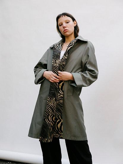 Vintage Jenia Psychedelic Velvet Khaki Trench Jacket