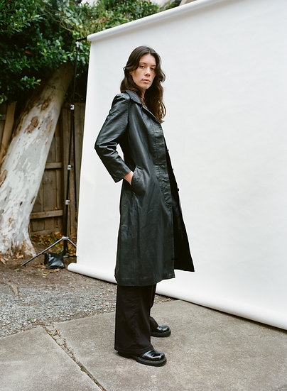 Vintage Black Genuine Leather Full Length Trench