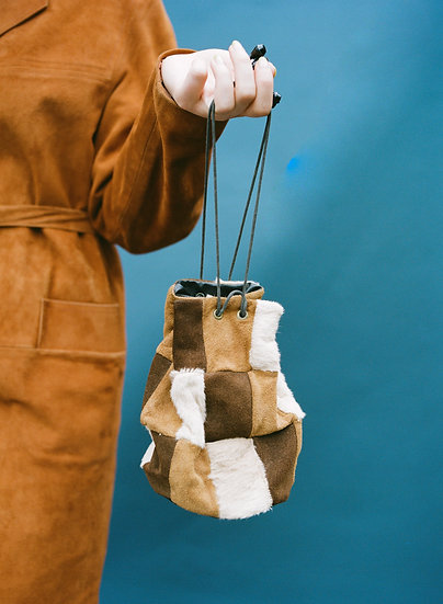 Vintage Genuine Leather and Fur Checkered Bag