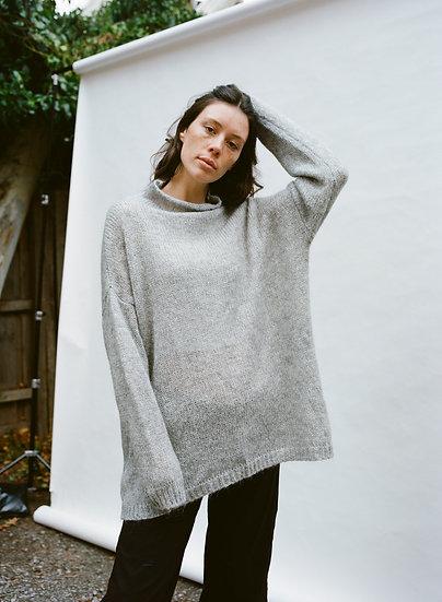 Mohair Blend Grey High Neck Knitted Sweater