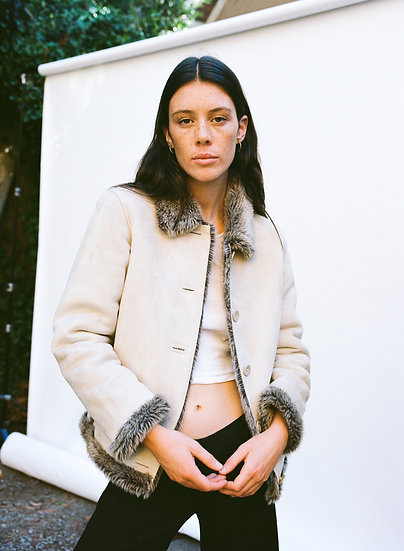 Vintage Faux Suede and Faux Fur Cropped Jacket