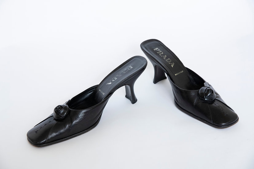 Vintage Genuine 1990's Italian PRADA Kitten Slide Heels