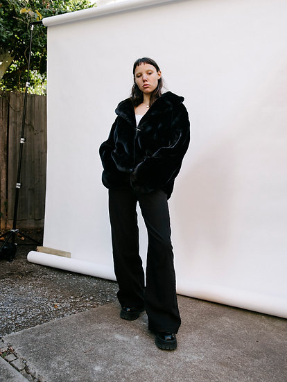 Vintage Deadstock Big City Chic Faux Fur Cropped Jacket