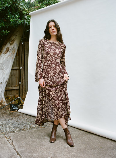 Vintage Country Road Floral Chiffon Full Length Dress
