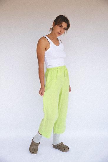 Pure Linen High Waist Elastic Wide Leg Pants