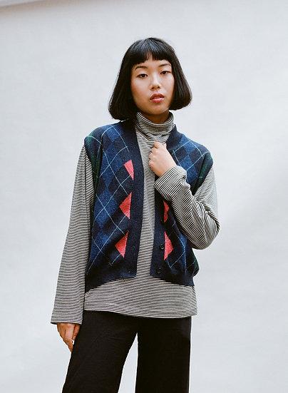Vintage ESprit Lambs Wool Argyle Knit Buttoned Vest