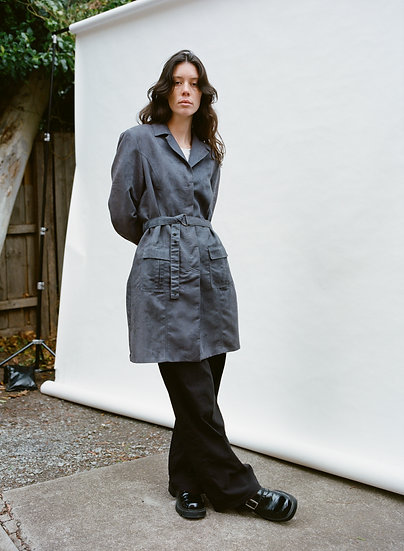 Vintage 90's Faux Suede Trench Coat