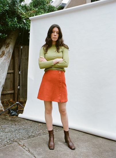 MARCS Deadstock Australian 100% Marino Wool Felt Button Mini Skirt