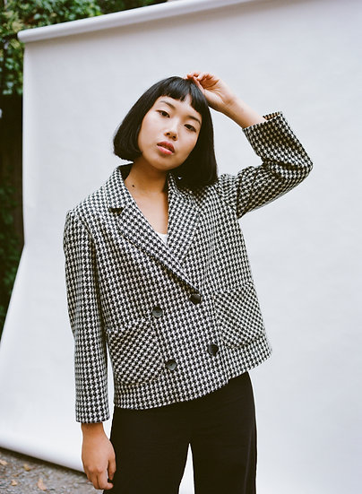 Vintage Lienwei Houndstooth Cropped Button Jacket