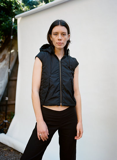 Vintage Reversible and Detachable Hooded Cropped Puffer Vest