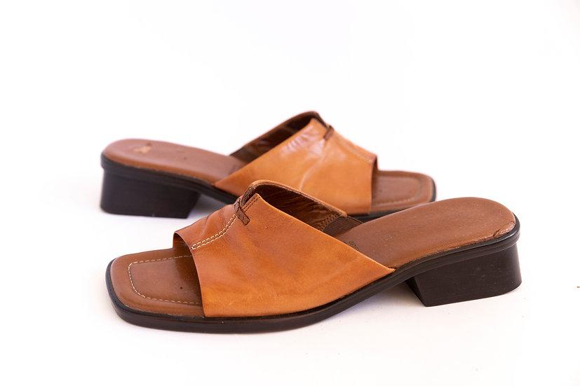 Vintage Genuine Leather Slide Mules