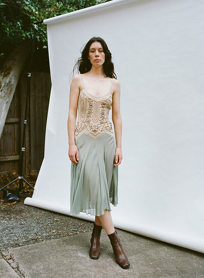 Vintage 100% Pure Silk Hand Beaded Low Back Ballerina Dress