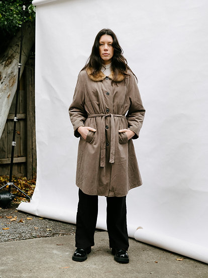 Vintage Faux Suede and Genuine Fur Collar Trench Coat