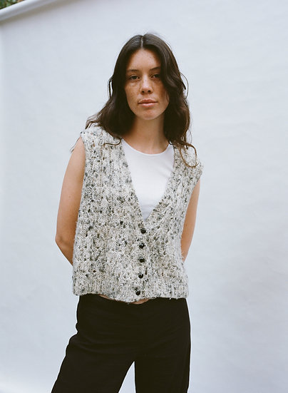 Vintage Australian Cropped Hand Knitted Button Vest
