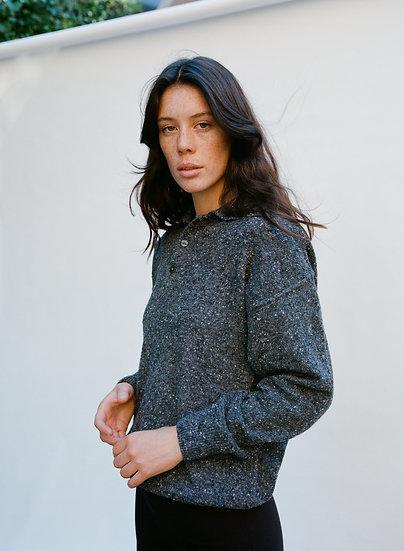 Vintage Woollen Speckle Button Knit Sweater