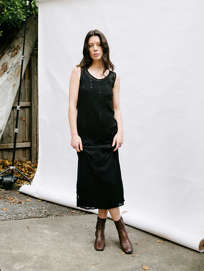 Vintage 90's Chiffon Sequinned Full Length Dress