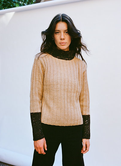 Vintage Ribbed Knit Colour Block Turtleneck Sweater
