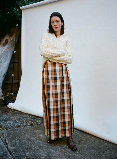 Vintage Gingham Satin Silk High Waist Full Length Skirt