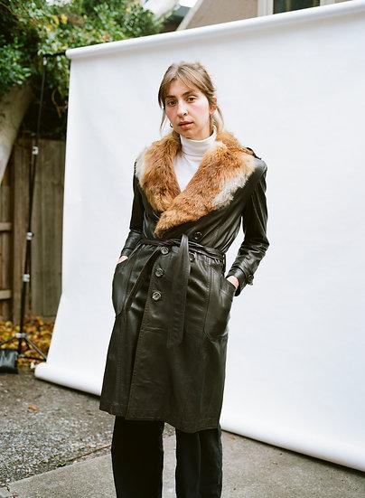 Vintage Piero Gesualdi Genuine Leather and Genuine Fur Trench Coat