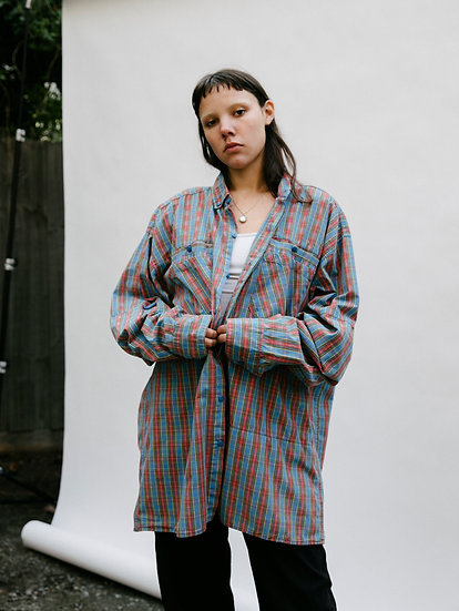 Vintage 90's Gingham Hiking Button Up Shirt with Velcro Air Flap
