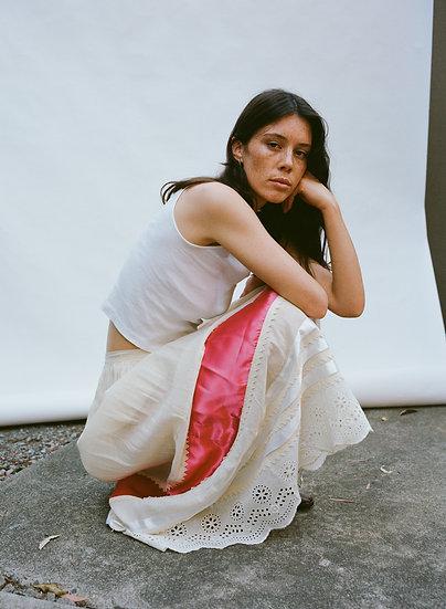 Vintage Mexican High Waist Panel Silk Lace Skirt