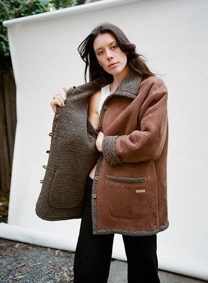 Vintage Thomas Cook Clothing Co Faux Suede Sheepskin Jacket