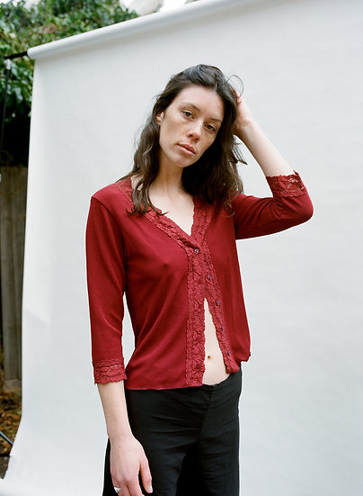 Vintage Filo Lace Button Knitted Blouse