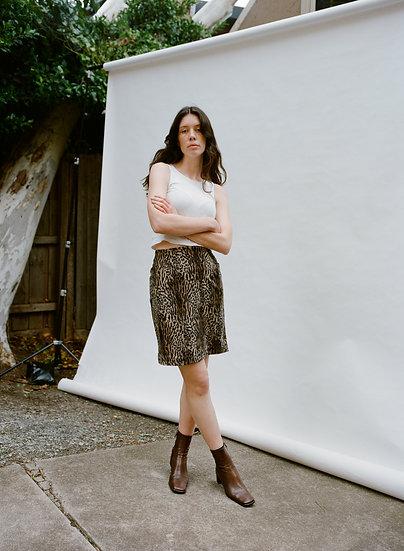 Vintage Howard Showers Leopard Faux Fur High Waist Mini Skirt
