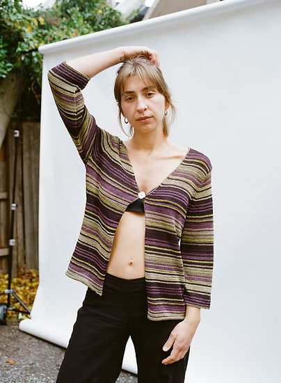 Vintage 90's Knitted Stripe Button Blouse