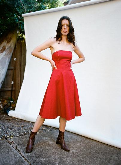 Vintage Very Very Strapless Red Middie Dress
