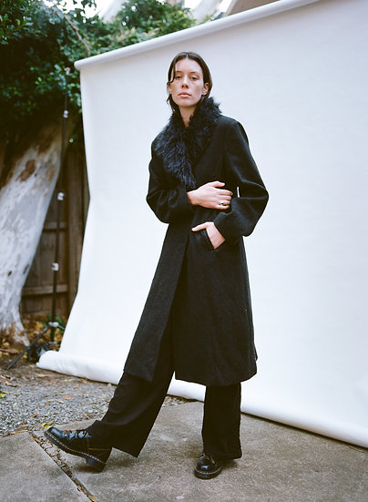 Vintage MCW Wool Cashmere Detachable Faux Fur Collared Full Length Trench Coat
